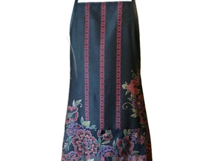 Black and Burgundy Stripe and Floral Print Apron for Woman Fits Sizes M, L or XL