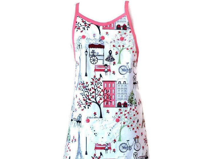 Peach, Black and White Parisian Theme Preteen Apron / Girl's Apron Size 10-12