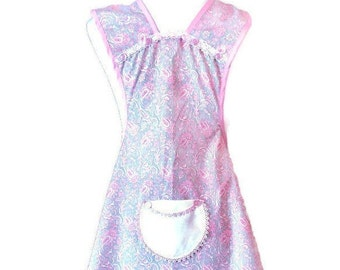 Pink and Gray Paisley Print Vintage Fabric Apron For Women Fits Sizes XS-S