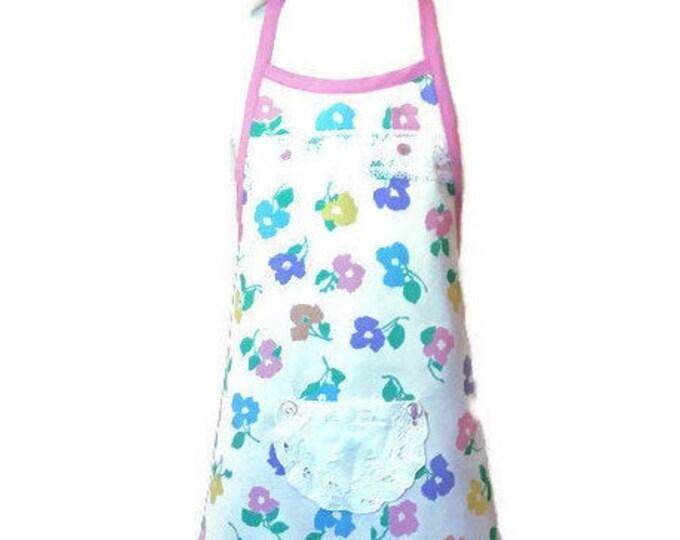 Pink Trimmed Floral Apron / Apron for Girls Size 3-4