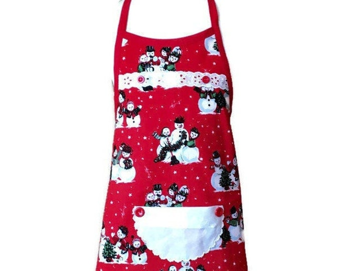 Girl's Curved Edge Snowman Apron / Christmas Apron for Girls Size 3-4