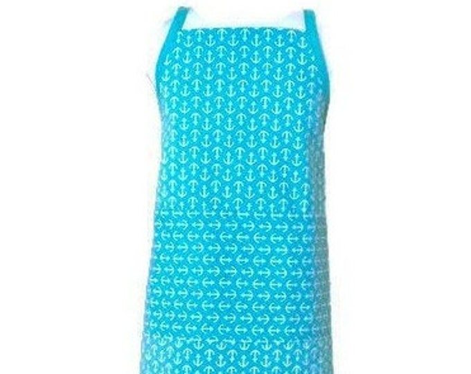 Child's Apron in Turquoise and White Anchor Print / Boy's Apron / Girl's Apron / Child's Apron Size 3-4