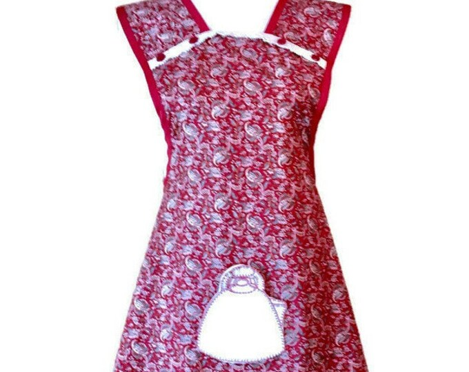 Burgundy Paisley Apron with Teapot Potholder Pocket / Old-Fashioned Apron for Woman Fits Sizes M-L