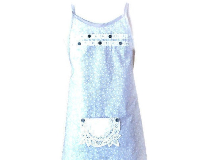 Gray With Yellow and White Floral Print Preteen Apron / Apron for Girls Size 10-12