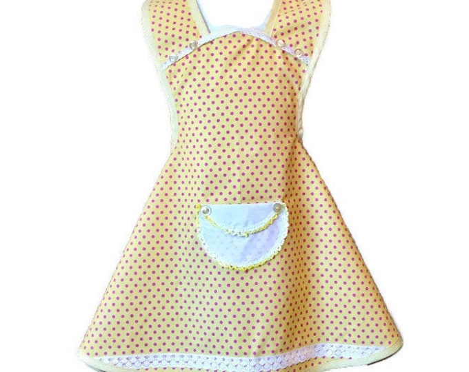 Yellow With Pink Polka Dots Old-Fashioned Apron / Aprons for Girls Size 5-6