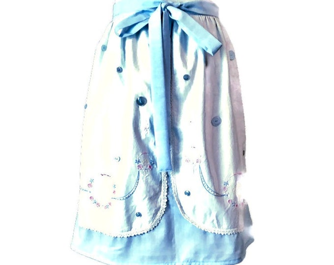 Pastel Blue Upcycled Dresser Scarf Apron
