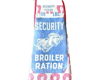 Apron from Vintage Security Broiler Ration Feed Sack / Apron for Woman Size M-L