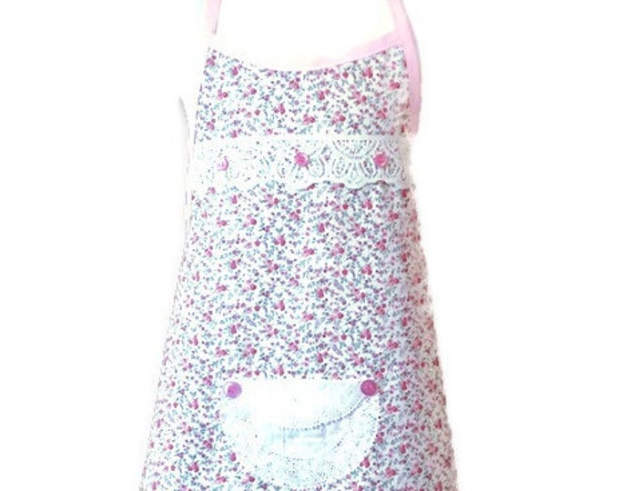 Size 5-6 Small Floral Print Pink Apron