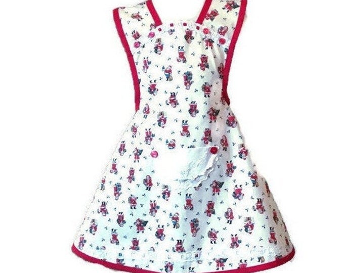 Red and White Santa Old-Fashioned Apron / Girl's Christmas Apron / Girl's Apron Size 5-6