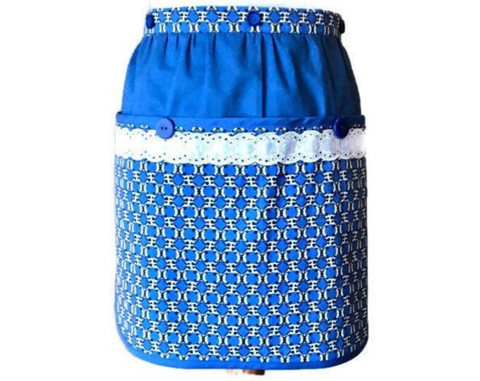 Royal Blue Geometric Print Half Apron / Vendor Apron / Server Apron / Gardening Apron / Half Apron for Women Size S-XL
