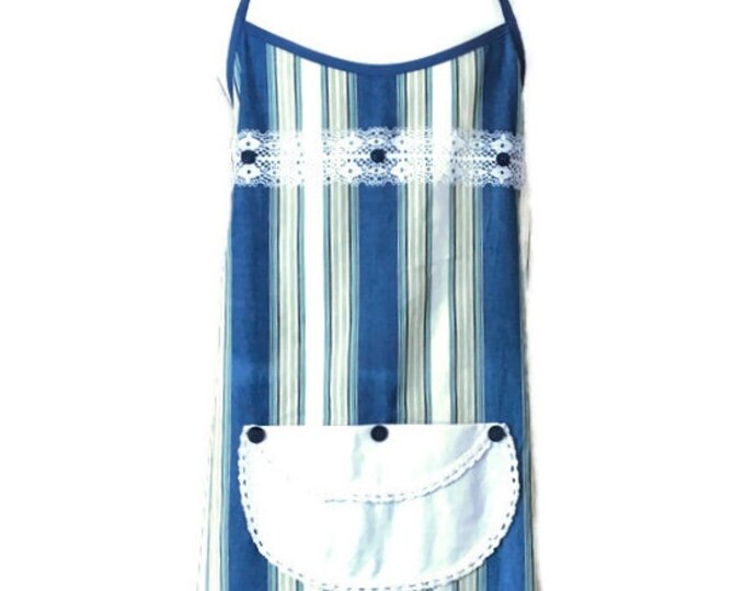 Lightweight Denim and Striped Plus Size Apron / Apron for Woman Fits Sizes 1X Through 3X