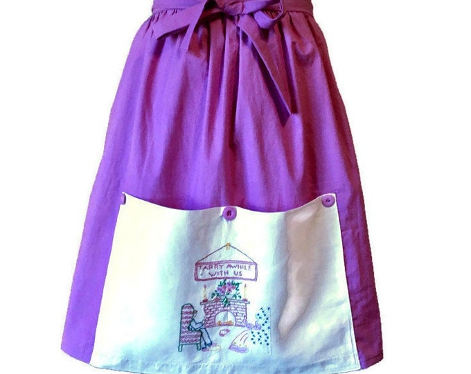 Purple Half Apron with Vintage Hand Towel for Pocket / Apron for Women Size M-XL