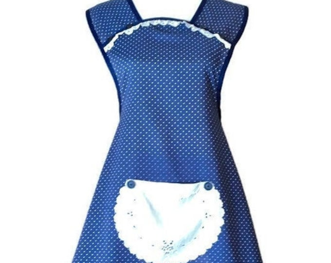 Navy Dotted Old-Fashioned Apron / Apron for Woman Size L-XL