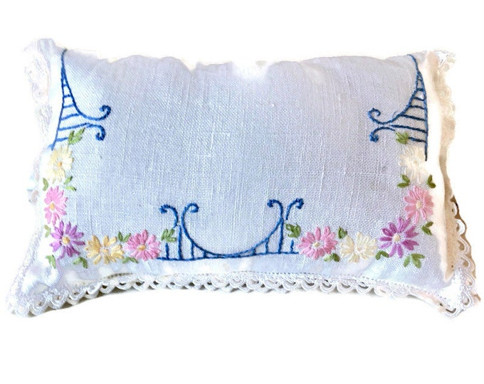 Decorative Pillow Upcycled From Vintage Embroidered Table Scarf