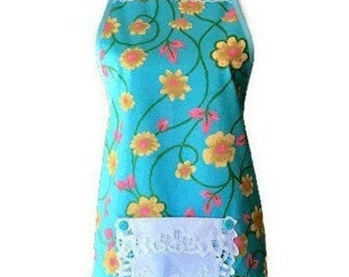 Turquoise, Yellow, Pink and Green Vintage Fabric Apron / Turquoise Apron for Woman / Women's Apron with Ruffle Size S to L