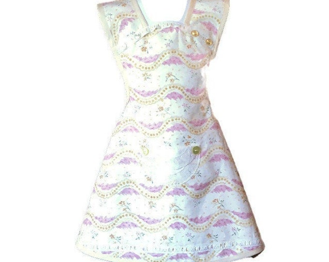 Yellow and Mauve Swirl Girl's Apron / Old-Fashioned Apron for Girls Size 5-6