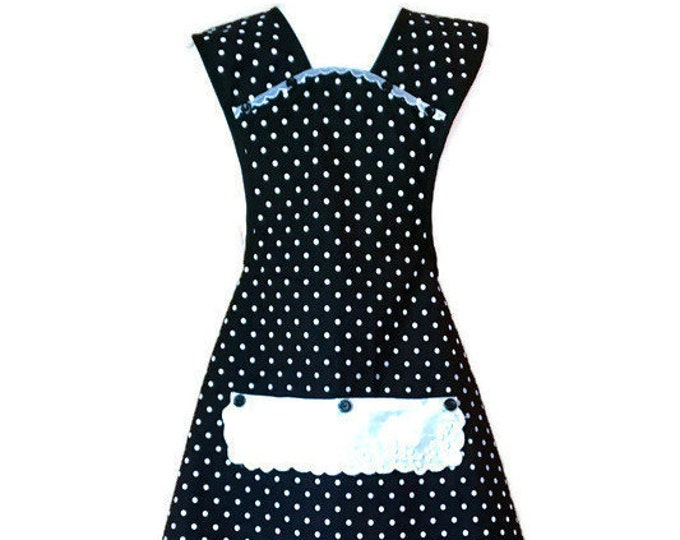 Black and White Dotted Old-Fashioned Apron / Apron for Women Size XS-S