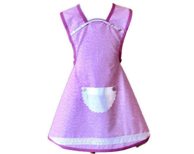 Girl's Old-Fashioned Apron in Purples / Apron for Girls Size 5-6