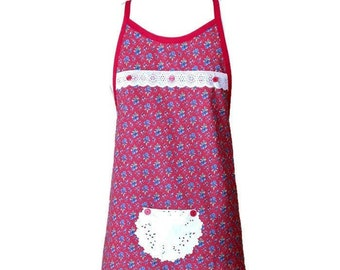 Red With Blue Floral Print Preteen Apron / Apron for Girls Size 10-12 / Petite Apron