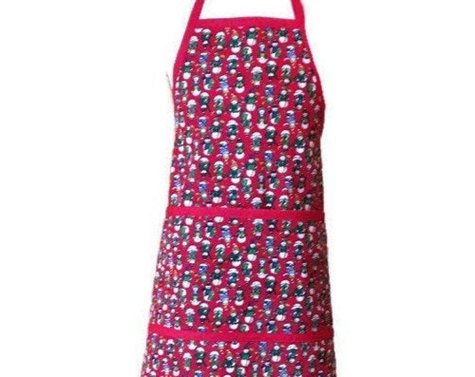 Child's Snowman Apron in Red / Child's Christmas Apron / Child's Apron size 3-4