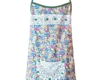Green Floral Plus Size Apron / Apron for Plus Size Woman / One Size Fits 1X-2X-3X