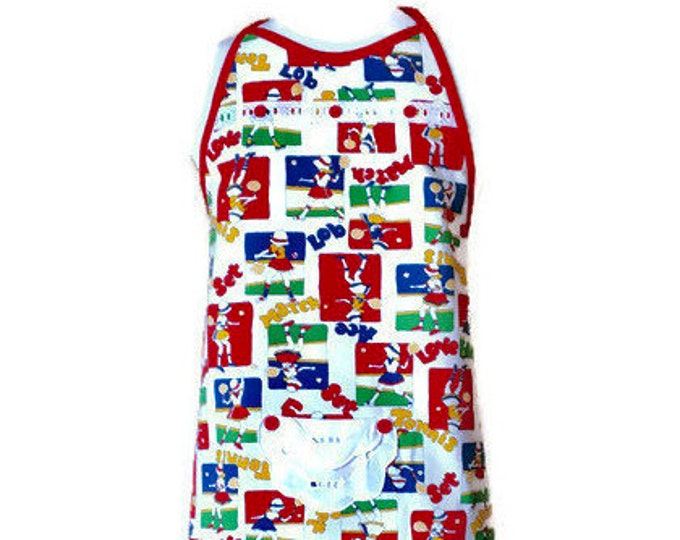 Preteen Apron in Vintage Tennis Print Fabric / Aprons for Girls Size 10-12