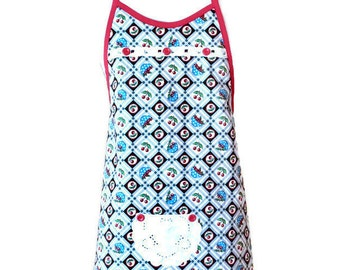 Preteen Apron in Red and Black Cherry Print / Apron for Girls Size 10-12