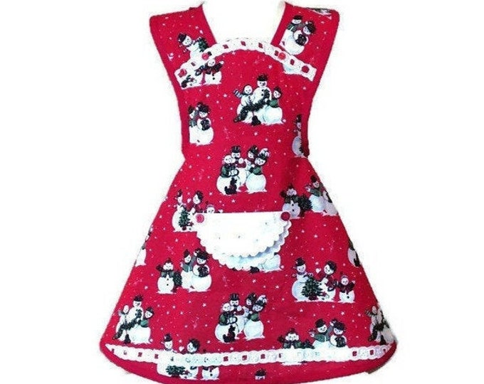 Snow Carolers Old-Fashioned Apron for Girls / Girl's Apron Size 5-6