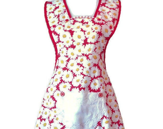 Daisy Print Old-Fashioned Apron From Vintage Fabric / Apron for Woman Fits Sizes L-XL