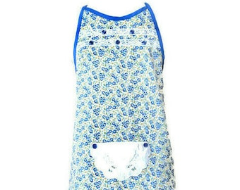 Blue and Yellow Floral Preteen Apron / Girl's Apron Size 10-12
