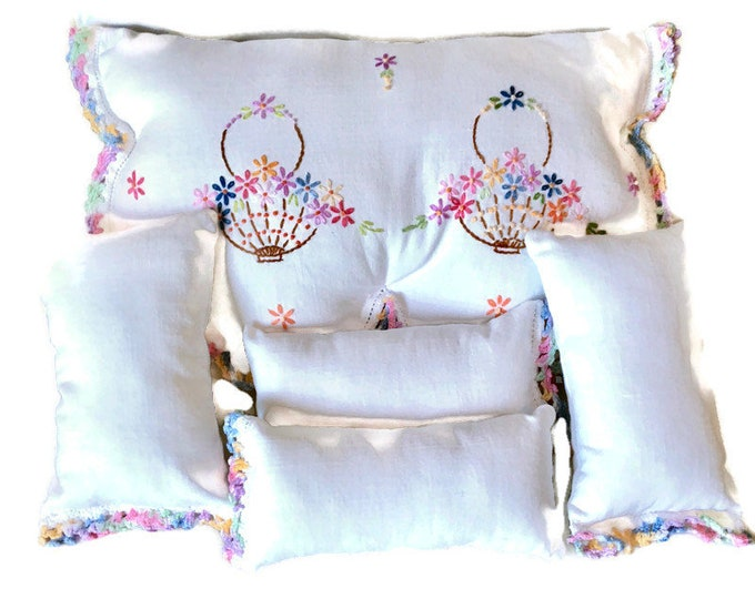 Set of 5 Coordinating Pillows From Vintage Dresser Scarf / Upcycled Pillow Set