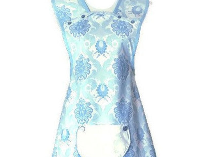 Light Blue and White Old-Fashioned Apron / Apron for Woman Sizes M-L