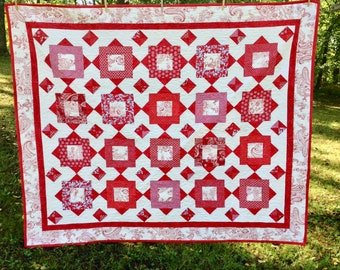 Enchanted Garden Red and White Quilt / Twin Quilt 66 x 77 Inches / Cotton Batting Quilt / Red and White Quilt Finished