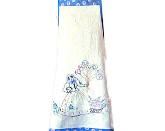Apron Upcycled From Vintage Embroidered Laundry Bag / Repurposed Apron For Women Sizes S or M