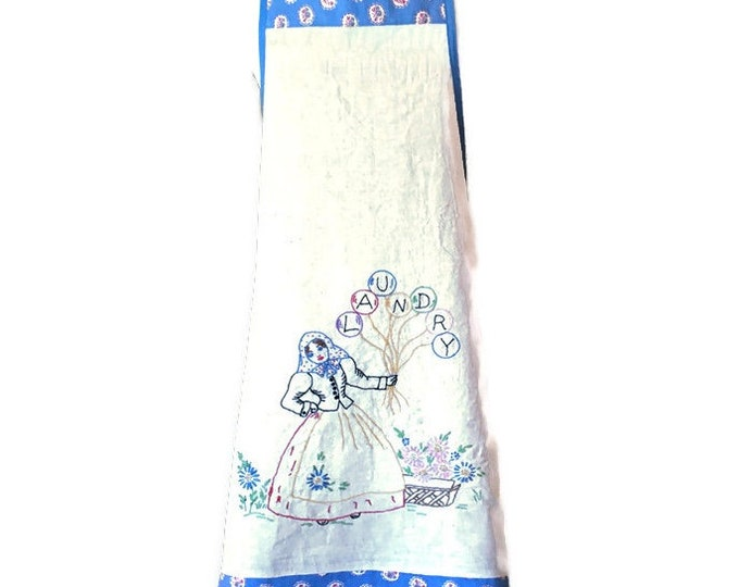 Apron Upcycled From Vintage Embroidered Laundry Bag / Repurposed Apron For Woman Sizes S or M