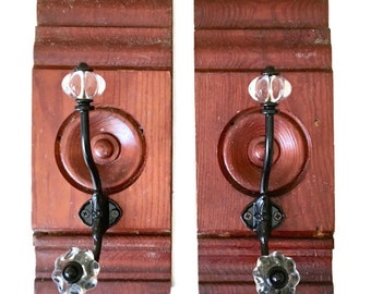 Pine Corner Block Apron Hook / Repurposed Wood Corner Block / Coat Hook / Kitchen Towel Hook / Bath Towel Hook