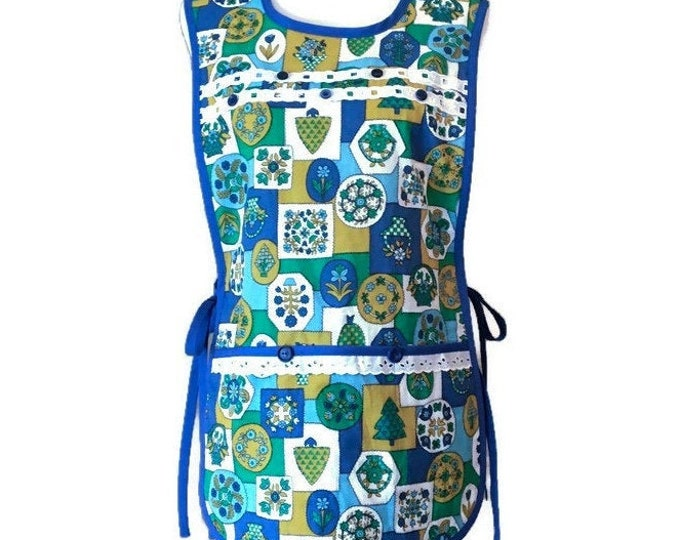 Blue, Green and Gold Vintage Fabric Cobbler Apron / Side-Tie Apron / Cobbler Apron Size S-L