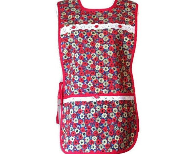 Bold Red and Golden Tan Floral Vintage Fabric Cobbler Apron / Cobbler Apron for Women Fits Sizes S-XL
