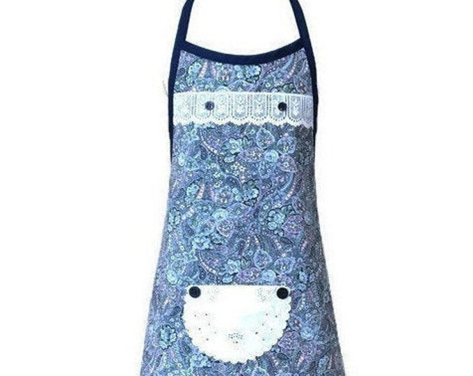 Girl's Blue Floral and Paisley Apron / Apron for Girls Size 5-6