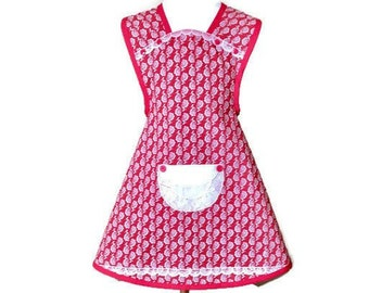 Girl's Red and Beige Floral Apron / Girl's Apron Size 7-8