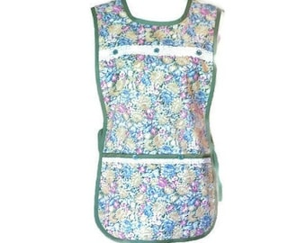 Green, Yellow, Blue, Pink Floral Cobbler Apron with Pockets / Side-Tie Apron for Women Size S-L