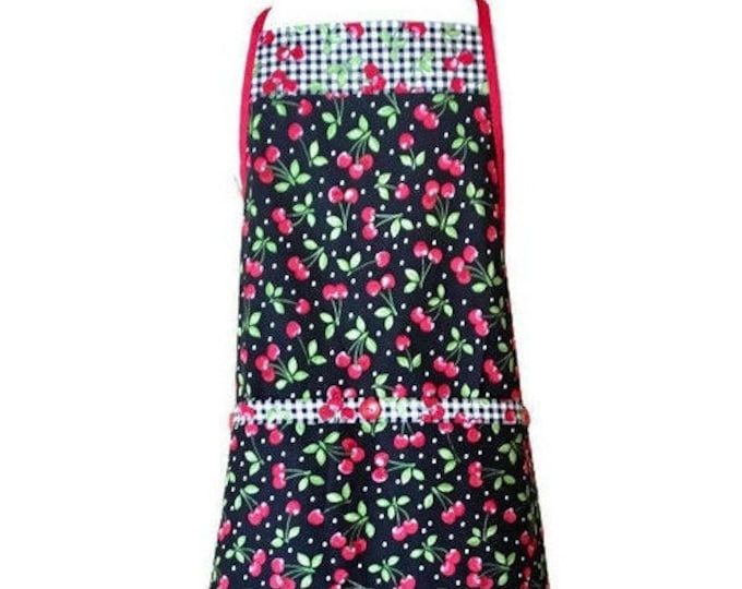 Cherry Print Full-Length Apron / Apron for Women Size M, L or XL