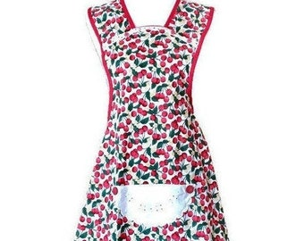 Cherry Print Old-Fashioned Apron / Apron for Women Size M-L