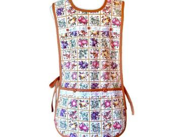 Fruit Print Vintage Fabric Cobbler Apron for Woman Fits Sizes S-M-L