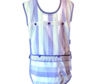 Purple and White Stripe Plus Size Cobbler Apron for Woman Fits Sizes 2X or 3X