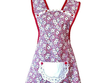 Red and Yellow Floral Old-Fashioned Apron for Woman Fits Sizes M-L