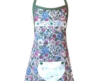 Apron for Girls in Green Floral Print / Apron for Girls Size 7-8