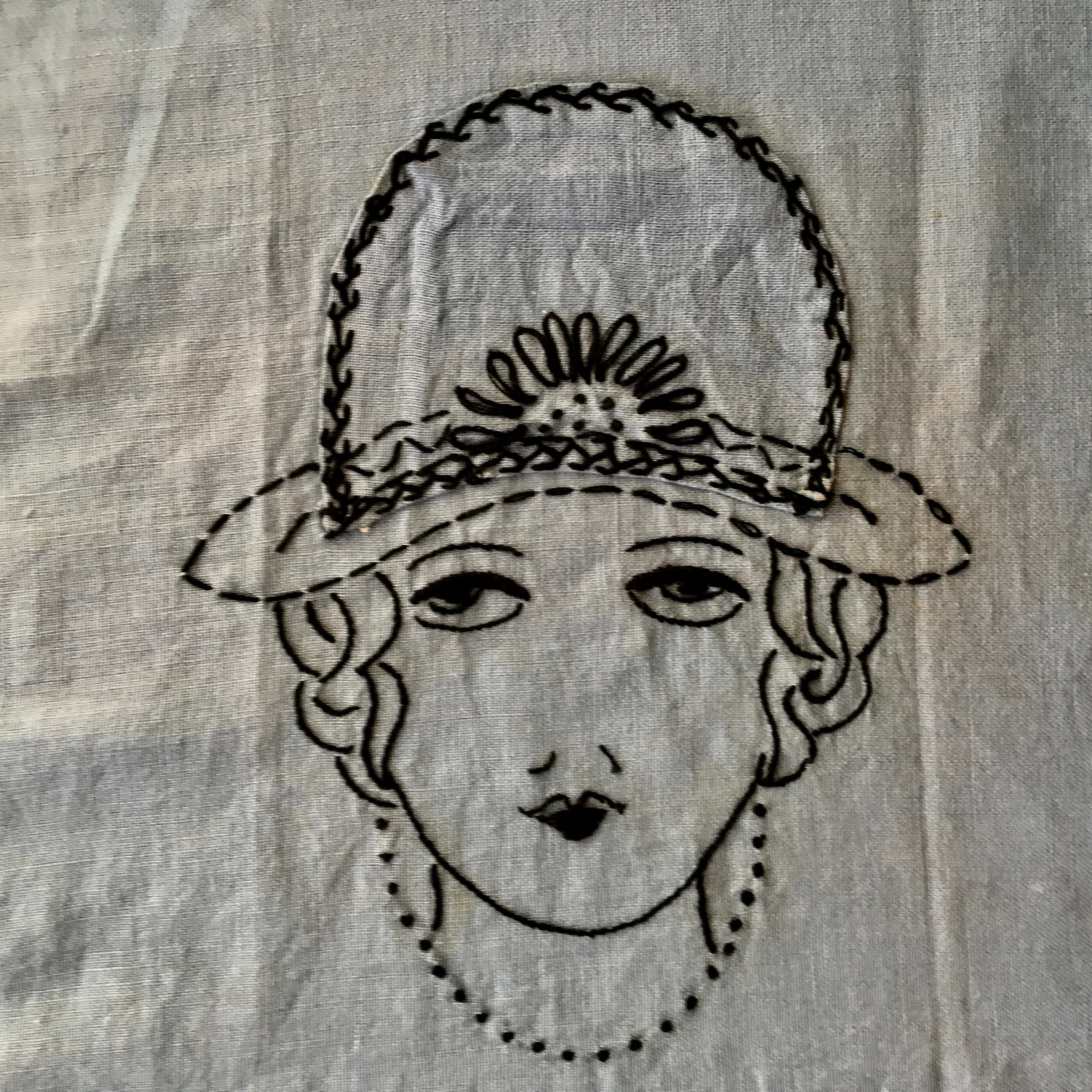 Blue Apron from Vintage Stamped Cloth with Embroidery  Apron for Women Size XS-S