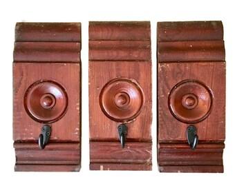 Repurposed Wood Block Apron Hook / Coat Hook / Towel Hook