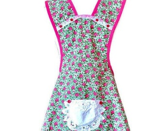 Pink and Green Floral Old-Fashioned Apron for Woman Fits Sizes XS-S